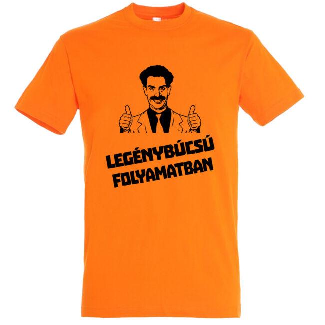 Borat legénybúcsú folyamatban póló narancssárga