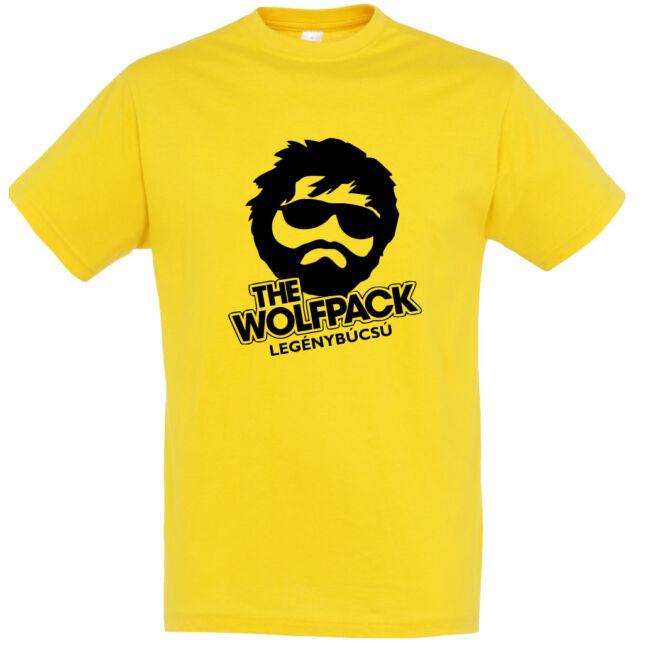 The Wolfpack legénybúcsú póló arany színben