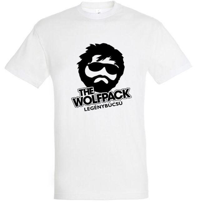 The Wolfpack legénybúcsú póló fehér színben