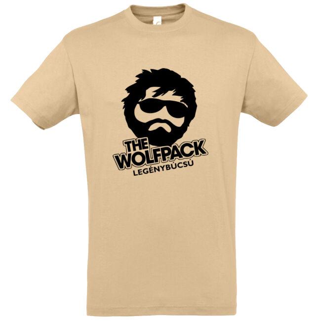 The Wolfpack legénybúcsú póló homok színben
