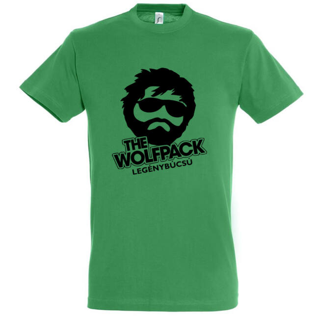 The Wolfpack legénybúcsú póló kelly green színben