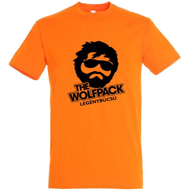The Wolfpack legénybúcsú póló narancssárga színben