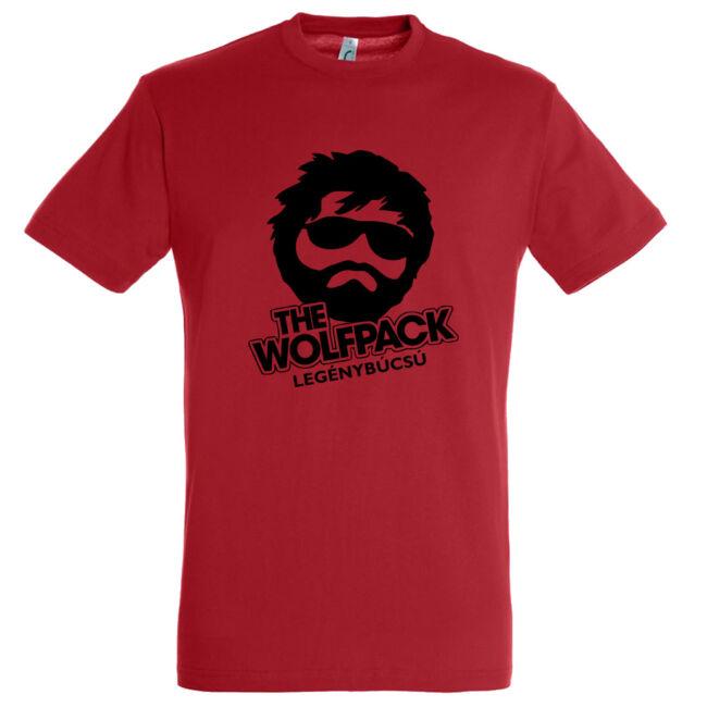 The Wolfpack legénybúcsú póló piros színben