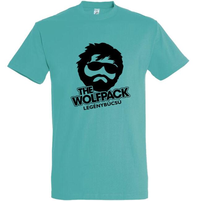 The Wolfpack legénybúcsú póló carribean blue színben