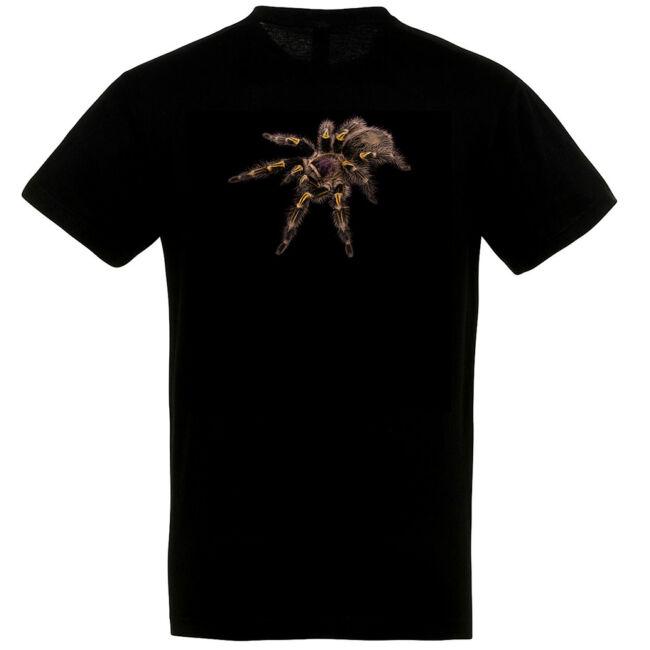 Grammostola pulchripes, madárpókos póló, fekete színben