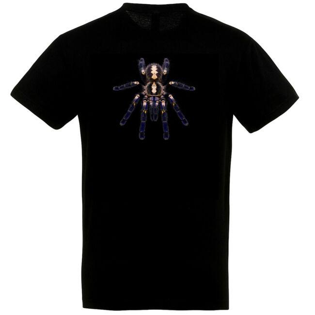 Poecilotheria metallica, madárpókos póló, fekete színben