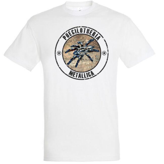 Poecilotheria metallica, madárpókos póló, fehér színben