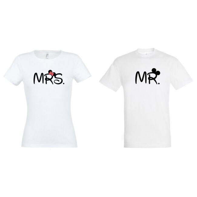 MRS és MR feliratos páros póló mind két fele, fehér színben