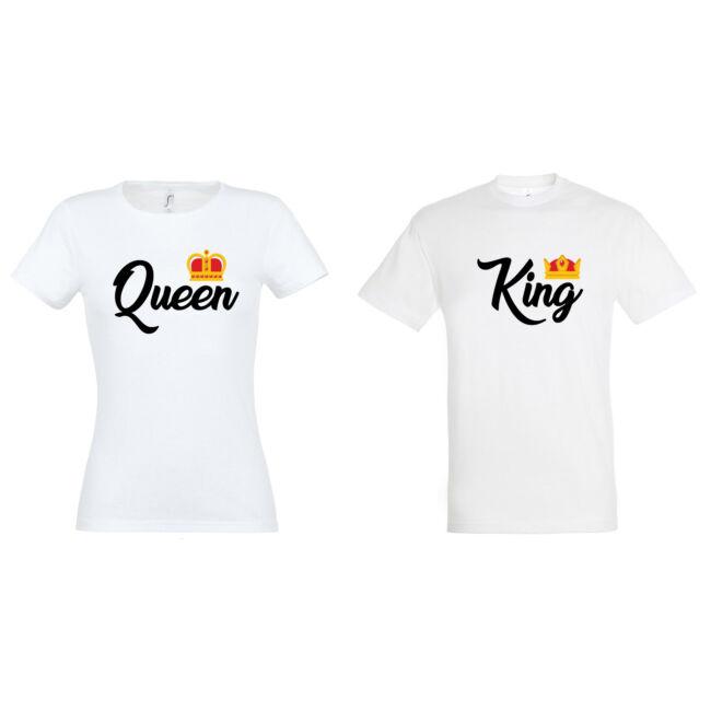 King és Queen feliratos páros póló mind két fele, fehér színben