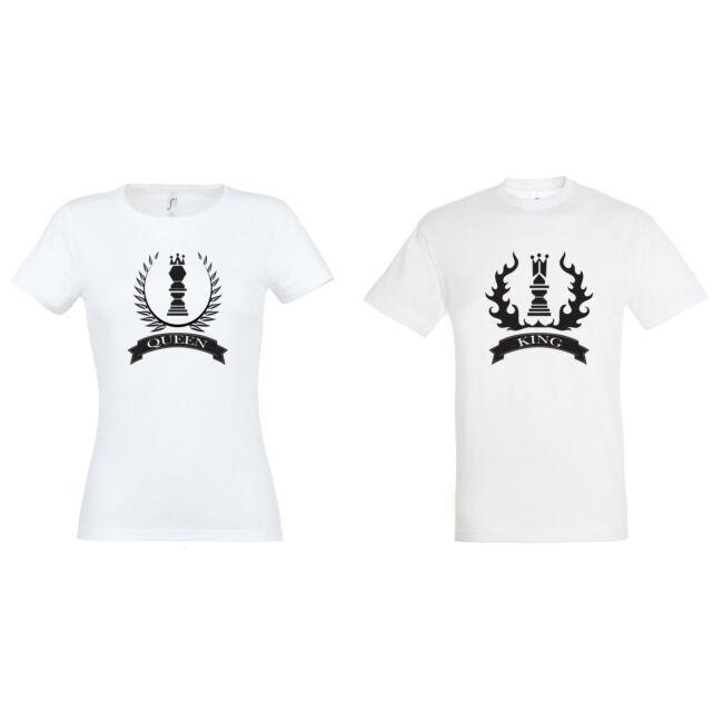 Queen és King sakkos feliratos páros póló mind két fele, fehér színben