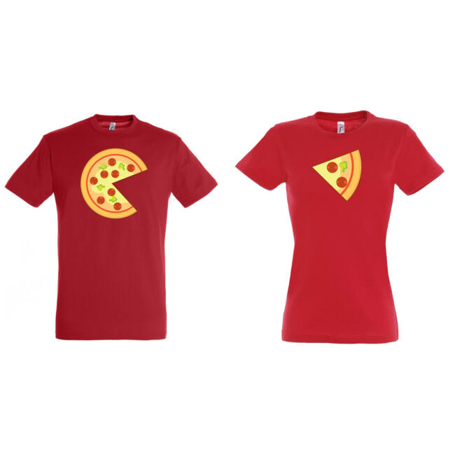 Pizza mintás páros póló, piros színben.