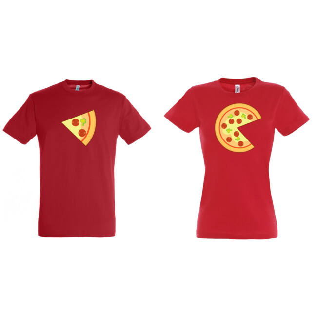 Pizzás szelet-egesz páros pólók piros