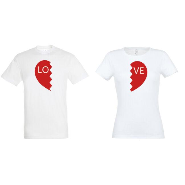 Love ffi-női páros pólók fehér
