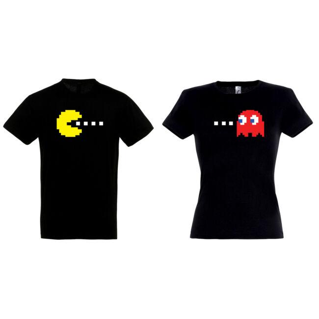 Pac-Man mintás páros póló, fekete színben. Tökéletes Valentin-napi ajándék.