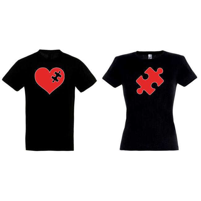 Puzzle-Szív páros pólók fekete