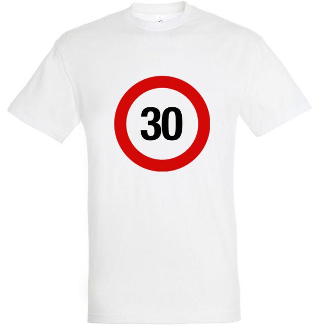 Sebességkorlátozó 30. születésnapi póló fehér