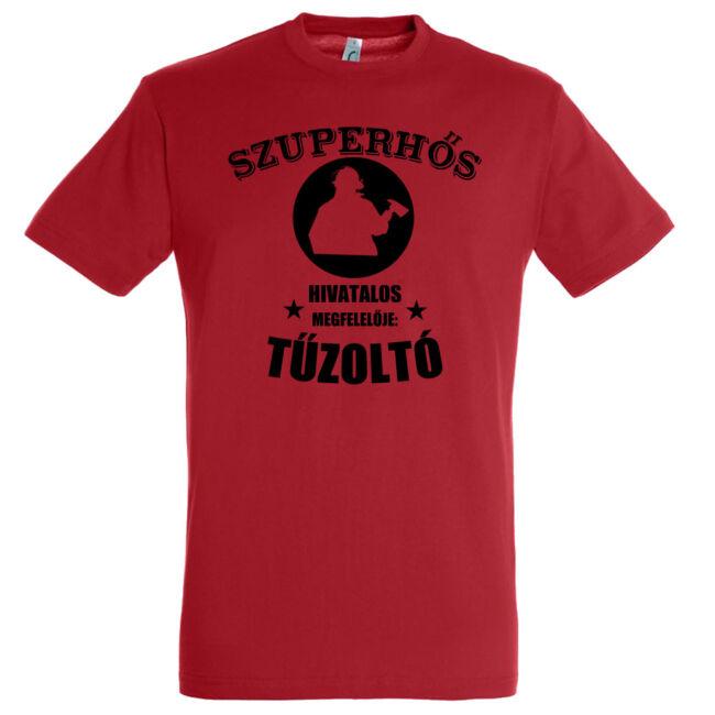 Szuperhős hivatalos megfelelője a tűzoltó póló piros