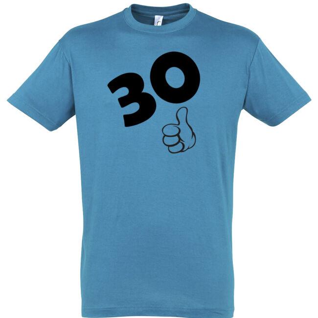 Póló 30. születésnapra aqua színben