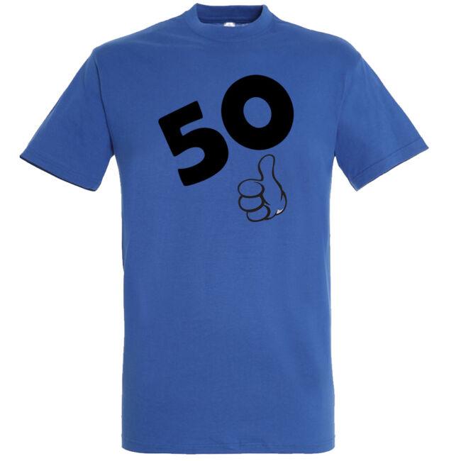 Póló 50. születésnapra királykék színben