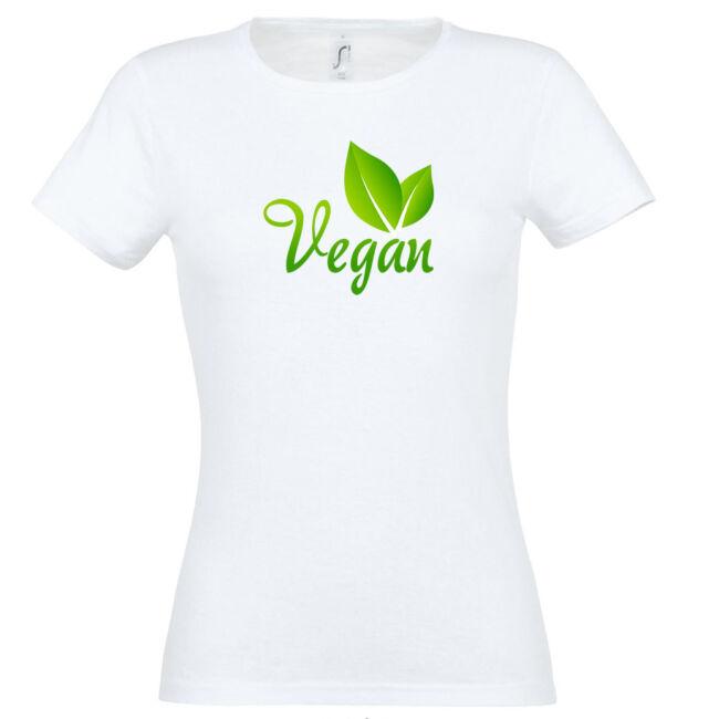 Vegán feliratos és kis zöld levelet ábrázoló fehér színű póló
