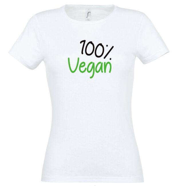 100% vegán feliratos fehér színű póló