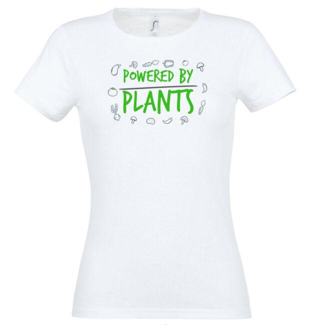 Powered by plants feliratos és zöldség mintás fehér színű póló