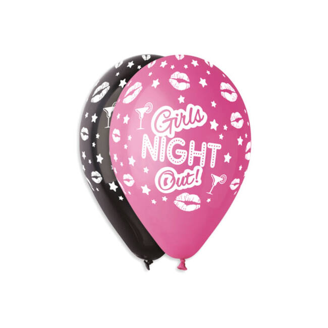 30 cm-es Girls night out! fekete-fukszia gumi léggömb