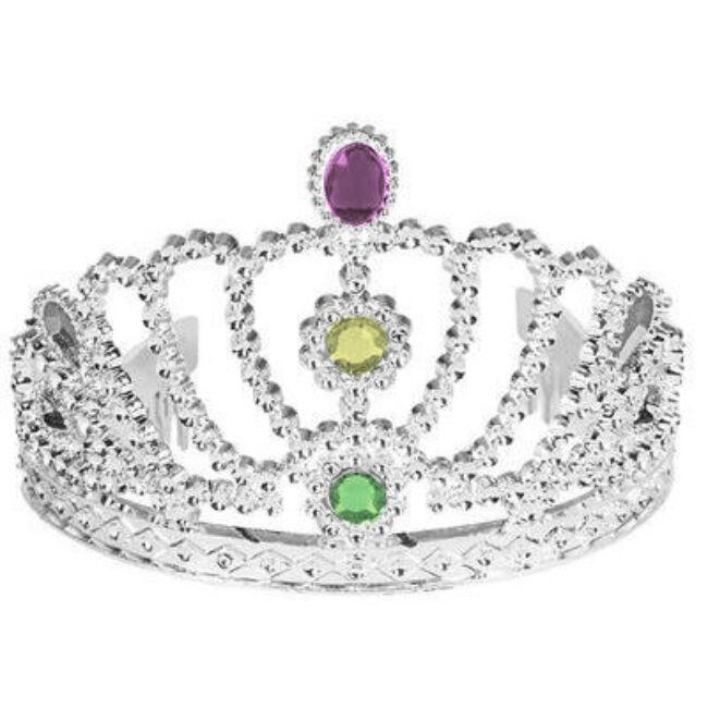 Rózsaszín, sárga és zöld köves tiara. Ajánlott lánybúcsúra a menyasszonynak. Anyaga: műanyag
