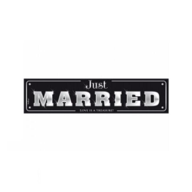 Rendszámtábla Just Married 50x11,5cm fekete-fehér