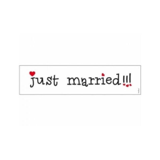 Rendszámtábla Just Married 50x11,5cm szívecskés