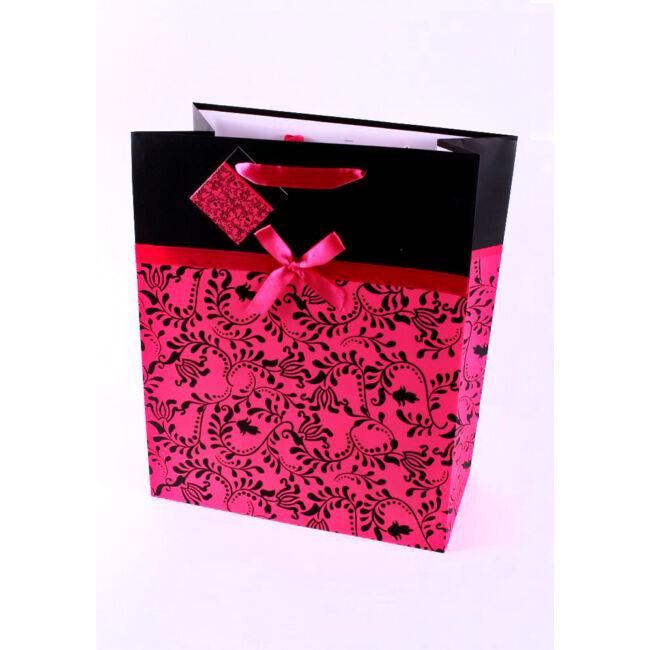 Fekete-rózsaszín szalagos ajándéktasak 23*18cm