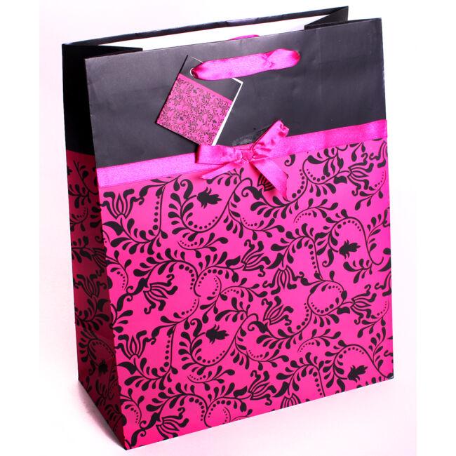 Fekete-rózsaszín szalagos ajándéktasak 33*26cm