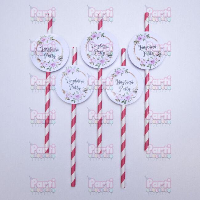 Prémium fehér és rózsaszín csíkos papír szívószál Lánybúcsú party felirattal és virágos lánybúcsú mintával. A csomag tartalma 10db szívószál. Hosszúság: 197 mm. Átmérő: 6mm. Anyaga: papír