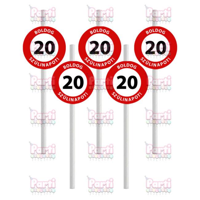 Prémium fehér papír szívószál sebességkorlátozó mintával 20. születésnapra. A csomag tartalma 10db szívószál. A szülinapok egyik tökéletes kiegészítője.