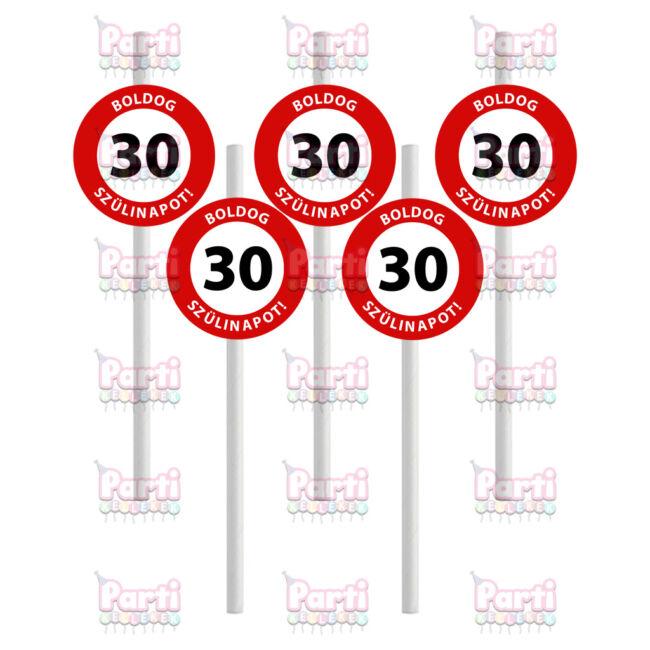 Prémium fehér papír szívószál sebességkorlátozó mintával 30. születésnapra. A csomag tartalma 10db szívószál. A szülinapok egyik tökéletes kiegészítője.