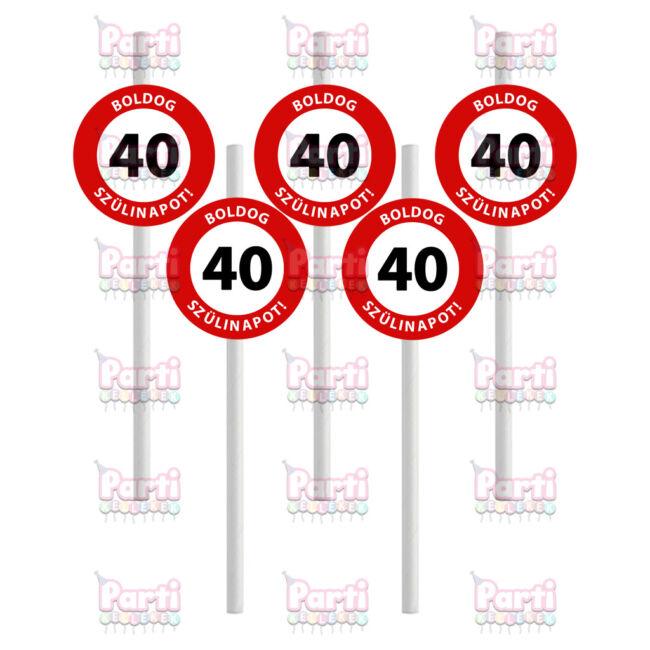 Prémium fehér papír szívószál sebességkorlátozó mintával 40. születésnapra. A csomag tartalma 10db szívószál. A szülinapok egyik tökéletes kiegészítője.