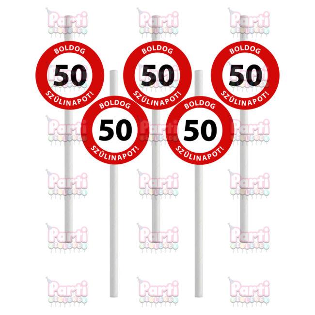 Prémium fehér papír szívószál sebességkorlátozó mintával 50. születésnapra. A csomag tartalma 10db szívószál. A szülinapok egyik tökéletes kiegészítője.