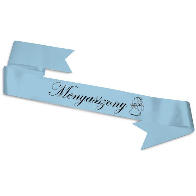 Menyasszony csokorral vállszalag kék színben lánybúcsúra