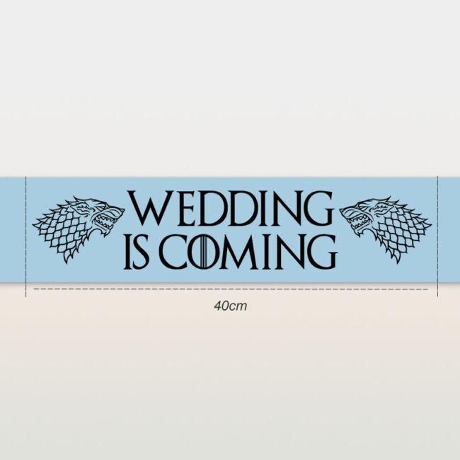 Wedding is coming vállszalag kék