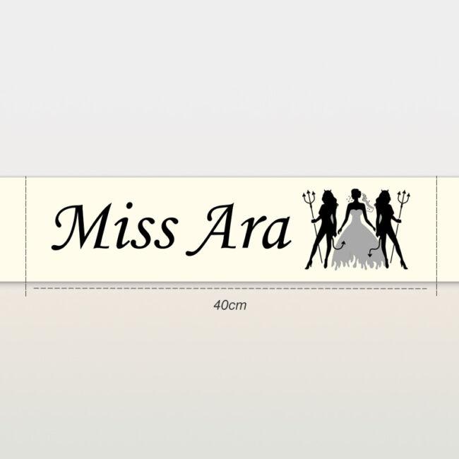 Miss Ara ördögökkel vállszalag ekrü színben lánybúcsúra
