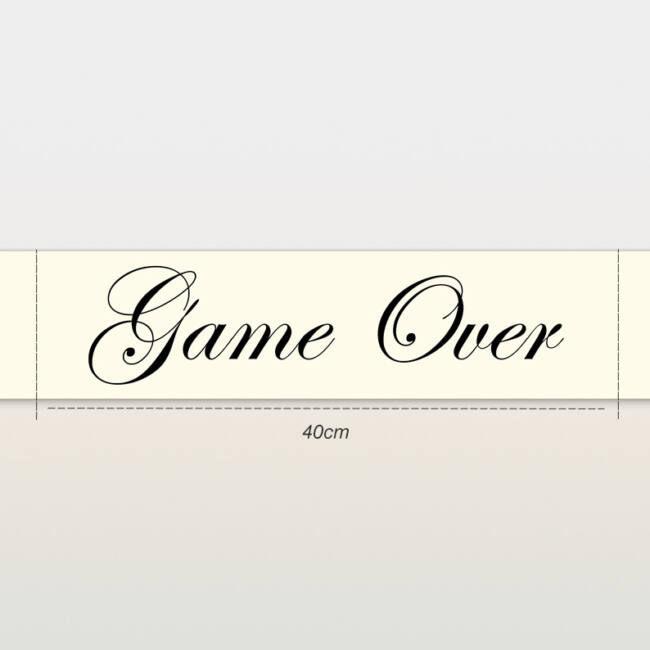Game Over vállszalag ekrü színben lánybúcsúra