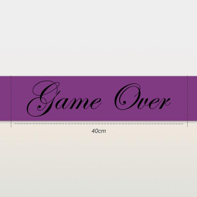 Game Over vállszalag lila színben lánybúcsúra