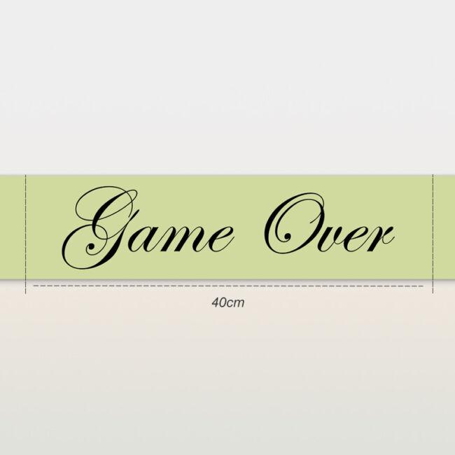Game Over vállszalag zöld színben lánybúcsúra